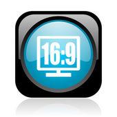16 9 表示黒と青色の正方形の光沢のあるアイコン web — ストック写真