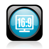 16 9 display black and blue square web glossy icon — Stock fotografie