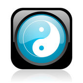 Ying yang black and blue square web glossy icon — Stock Photo