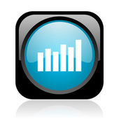 Sloupcový graf je černá a modrá čtvercová web lesklý ikonu — Stock fotografie