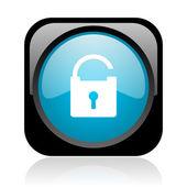Candado icono brillante web cuadrado negro y azul — Foto de Stock