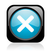 Cancel black and blue square web glossy icon — Stock Photo