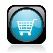 Shopping cart negro y azul cuadrados web icono brillante — Foto de Stock