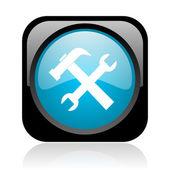 Outils noir et bleu carré web icône brillant — Photo