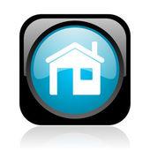 ホームの黒と青の正方形ウェブ光沢のあるアイコン — ストック写真