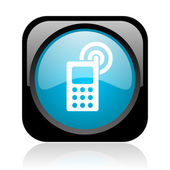 Cellphone black and blue square web glossy icon — Stock Photo