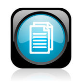 Document black and blue square web glossy icon — Stock Photo
