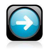 Flèche web carré droit noir et bleu brillant — Photo