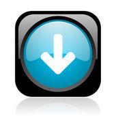 Flèche vers le bas de l'icône de papier glacé web carré noir et bleu — Photo