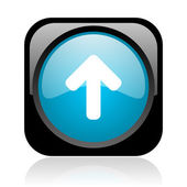 Arrow up black and blue square web glossy icon — Stock Photo