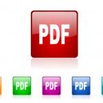 Pdf square web glossy icon colorful set — Stock Photo #23640491