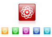 Atom square web glossy icon colorful set — Stock Photo