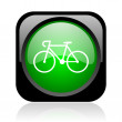 Bicycle black and green square web glossy icon — Stock Photo