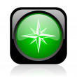 Compass black and green square web glossy icon — Stock Photo