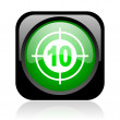 Target black and green square web glossy icon - Stock Photo