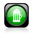 Beer black and green square web glossy icon - Stock Photo
