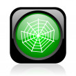 Spider web black and green square web glossy icon - Stock Photo