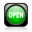 Open black and green square web glossy icon - Stock Photo