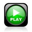 Play black and green square web glossy icon - Stock Photo