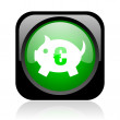 Piggy bank black and green square web glossy icon - Stock Photo
