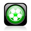 Soccer black and green square web glossy icon - Stock Photo