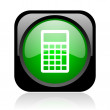 Calculator black and green square web glossy icon - Stock Photo