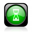 Time black and green square web glossy icon — Stock Photo