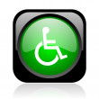 Accessibility black and green square web glossy icon — Stock Photo #23748833