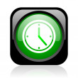 Clock black and green square web glossy icon — Stock Photo #23748961