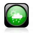 Weather forecast black and green square web glossy icon - Lizenzfreies Foto