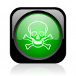 Skull black and green square web glossy icon — Stock Photo #23749291
