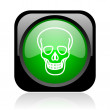 Skull black and green square web glossy icon — Stock Photo #23749303