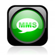 Stock Photo: Mms black and green square web glossy icon
