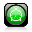 Stock Photo: Alarm clock black and green square web glossy icon