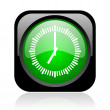 Stock Photo: Clock black and green square web glossy icon