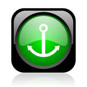 Anchor black and green square web glossy icon — Stock Photo