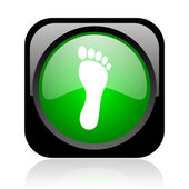 Footprint black and green square web glossy icon — Stock Photo