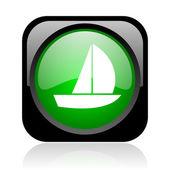 Iate preto e verde quadrado brilhante ícone web — Foto Stock