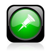 Pin-код черный и зеленый квадрат веб глянцевой значок — Стоковое фото