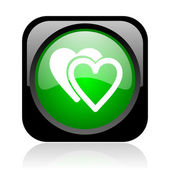 Love black and green square web glossy icon — Stock Photo