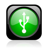 Usb black and green square web glossy icon — Stock Photo