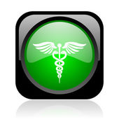 Caduceus black and green square web glossy icon — Stock Photo