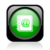 Address book black and green square web glossy icon — Stock Photo