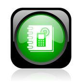 Telefoonboek zwart en groen plein web glanzende pictogram — Stockfoto