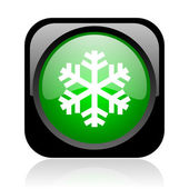 Snowflake black and green square web glossy icon — Stock Photo