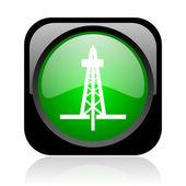 Perforación icono brillante web cuadrado negro y verde — Foto de Stock