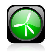 Windmill black and green square web glossy icon — Stock Photo
