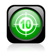 Target black and green square web glossy icon — Stock Photo