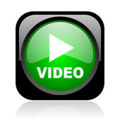 Video black and green square web glossy icon — Stock Photo