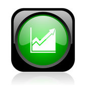 Histogram black and green square web glossy icon — Stock Photo